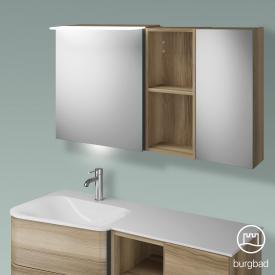 Burgbad Badu Spiegelschrank mit LED-Beleuchtung mit 2 Türen und Regal Korpus frassino cappuccino dekor, Griffleiste anthrazit, mit Waschtischbeleuchtung