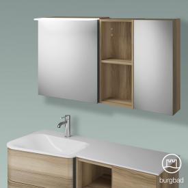 Burgbad Badu Spiegelschrank mit LED-Beleuchtung mit 2 Türen Korpus frassino cappuccino dekor, Griffleiste anthrazit, ohne Waschtischbeleuchtung