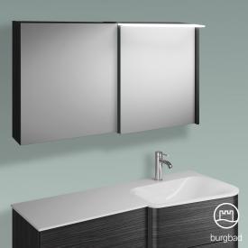 Burgbad Badu Spiegelschrank mit LED-Beleuchtung mit 2 Türen Korpus hacienda schwarz, Griffleiste anthrazit, ohne Waschtischbeleuchtung