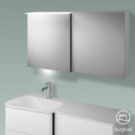 Burgbad Badu Spiegelschrank mit LED-Beleuchtung mit 2 Türen Korpus weiß matt, Griffleiste anthrazit, mit Waschtischbeleuchtung
