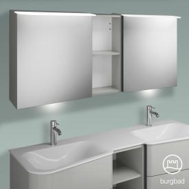 Burgbad Badu Spiegelschrank mit LED-Beleuchtung mit 2 Türen und Regal Korpus leinengrau hochglanz, Griffleiste anthrazit, mit Waschtischbeleuchtung