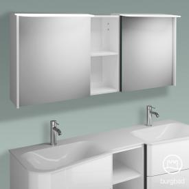 Burgbad Badu Spiegelschrank mit LED-Beleuchtung mit 2 Türen Korpus weiß hochglanz, Griffleiste anthrazit, ohne Waschtischbeleuchtung