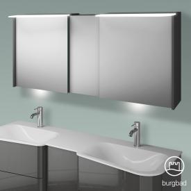 Burgbad Badu Spiegelschrank mit LED-Beleuchtung mit 3 Türen Korpus anthrazit hochglanz, Griffleiste anthrazit, mit Waschtischbeleuchtung