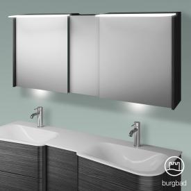 Burgbad Badu Spiegelschrank mit LED-Beleuchtung mit 3 Türen Korpus hacienda schwarz, Griffleiste anthrazit, mit Waschtischbeleuchtung