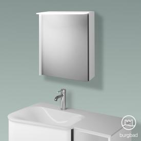 Burgbad Badu Spiegelschrank mit LED-Beleuchtung mit 1 Tür Korpus weiß matt, Griffleiste anthrazit, ohne Waschtischbeleuchtung