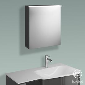 Burgbad Badu Spiegelschrank mit LED-Beleuchtung mit 1 Tür Korpus anthrazit hochglanz, Griffleiste anthrazit, ohne Waschtischbeleuchtung