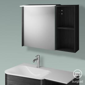 Burgbad Badu Spiegelschrank mit LED-Beleuchtung mit 1 Tür Korpus hacienda schwarz, Griffleiste anthrazit, ohne Waschtischbeleuchtung