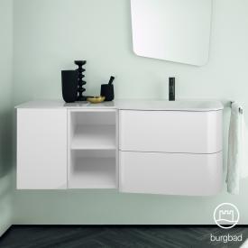 Burgbad Badu Waschtisch mit Waschtischunterschrank mit 2 Auszügen Front weiß hochglanz / Korpus weiß hochglanz, Griffleiste anthrazit, WT weiß