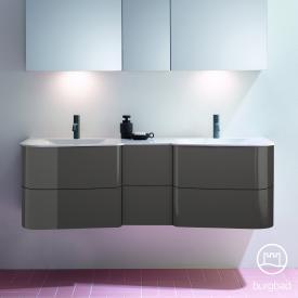 Burgbad Badu Doppelwaschtisch mit Waschtischunterschrank mit 6 Auszügen Front anthrazit hochglanz / Korpus anthrazit hochglanz, Griffleiste anthrazit, WT weiß