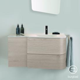 Burgbad Badu Waschtisch mit Waschtischunterschrank mit 2 Auszügen Front eiche flanell dekor / Korpus eiche flanell dekor, Griffleiste anthrazit, Waschtisch weiß