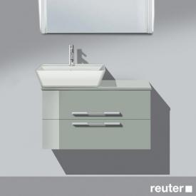 Burgbad Bel Aufsatzwaschtisch mit Waschtischunterschrank mit 2 Auszügen Front lichtgrau hochgl./Korpus lichtgrau hochgl./Waschtisch weiß