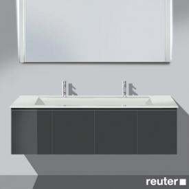 Burgbad Bel Doppelwaschtisch mit Waschtischunterschrank mit 4 Türen Front anthrazit hochglanz/Korpus anthrazit hochglanz/Waschtisch weiß