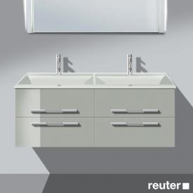 Burgbad Bel Doppelwaschtisch mit Waschtischunterschrank mit 4 Auszügen Front lichtgrau hochgl./Korpus lichtgrau hochgl./Waschtisch weiß