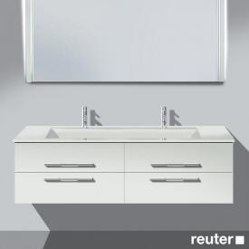 Burgbad Bel Doppelwaschtisch mit Waschtischunterschrank mit 4 Auszügen Front weiß matt/Korpus weiß matt/Waschtisch weiß