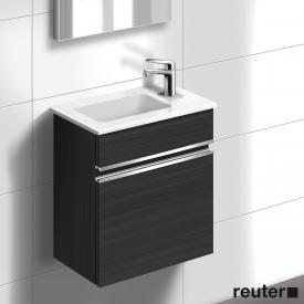 Burgbad Bel Handwaschbecken mit Waschtischunterschrank mit 1 Tür Front hacienda schwarz/Korpus hacienda schwarz/Waschtisch weiß