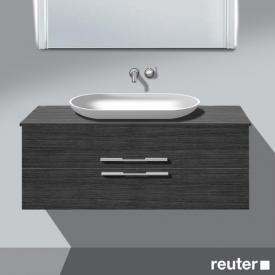 Burgbad Bel Waschtischunterschrank für Aufsatzwaschtisch mit 2 Auszügen Front hacienda schwarz/Korpus hacienda schwarz, Waschtisch weiß