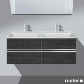 Burgbad Bel Waschtischunterschrank mit 4 Auszügen und Waschtisch Front hacienda schwarz/Korpus hacienda schwarz/WT weiß