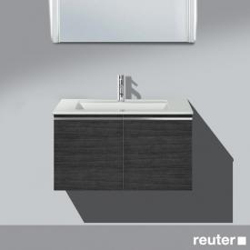 Burgbad Bel Waschtischunterschrank mit 2 Türen und Waschtisch Front hacienda schwarz/Korpus hacienda schwarz/WT weiß