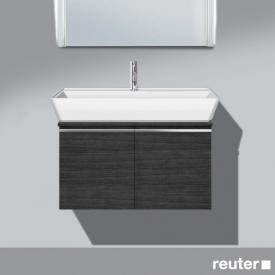 Burgbad Bel Waschtischunterschrank mit 2 Türen und 1 Waschtisch Front hacienda schwarz/Korpus hacienda schwarz/WT weiß