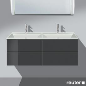Burgbad Bel Waschtischunterschrank mit 4 Auszügen und Waschtisch Front anthrazit hochglanz/Korpus anthrazit hochglanz/WT weiß