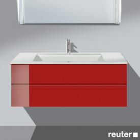 Burgbad Bel Waschtischunterschrank mit 2 Auszügen und Waschtisch Front hellrot hochgl./Korpus hellrot hochgl./WT weiß