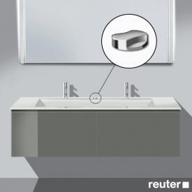 Burgbad Bel Waschtischunterschrank mit 2 Auszügen inkl. Waschtisch Front grau hochgl./Korpus grau hochgl./WT weiß