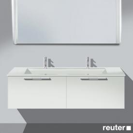 Burgbad Bel Waschtischunterschrank mit 2 Auszügen und Waschtisch Front weiß matt/Korpus weiß matt/WT weiß