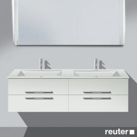 Burgbad Bel Waschtischunterschrank mit 4 Auszügen und Waschtisch Front weiß matt/Korpus weiß matt/WT weiß