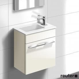 Burgbad Bel Waschtischunterschrank, Waschtisch weiß links Front weiß hochgl./Korpus weiß hochgl./WT weiß