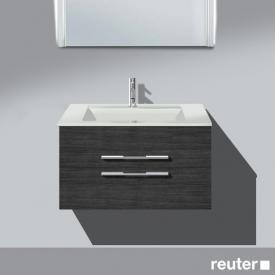 Burgbad Bel Waschtischunterschrank mit 2 Auszügen und Waschtisch Front hacienda schwarz/Korpus hacienda schwarz/WT weiß