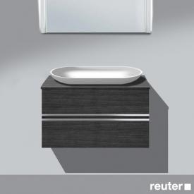 Burgbad Bel Waschtischunterschrank für Aufsatzbecken mit 2 Auszügen Front hacienda schwarz/Korpus hacienda schwarz/WT weiß