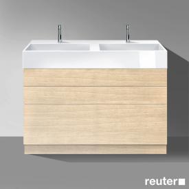 Burgbad Crono Doppelwaschtisch mit Waschtischunterschrank mit 3 Auszügen Front eiche fineline hell/K: eiche fineline hell/Waschtisch weiß