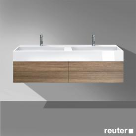 Burgbad Crono Doppelwaschtisch mit Waschtischunterschrank mit 2 Auszügen Front nussbaum natur / Korpus nussbaum natur / Waschtisch weiß