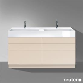 Burgbad Crono Doppelwaschtisch mit Waschtischunterschrank mit 6 Auszügen Front sand matt / Korpus sand matt/Waschtisch weiß