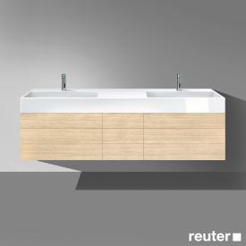 Burgbad Crono Doppelwaschtisch mit Waschtischunterschrank mit 7 Auszügen Front eiche fineline hell/K: eiche fineline hell/Waschtisch weiß