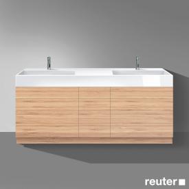 Burgbad Crono Doppelwaschtisch mit Waschtischunterschrank mit 9 Auszügen Front bambus / Korpus bambus/WT weiß