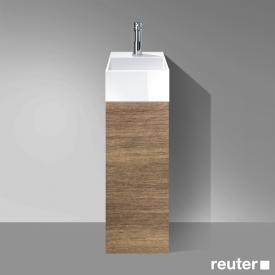Burgbad Crono Handwaschbecken mit Waschtischunterschrank mit 1 Tür Front nussbaum natur / Korpus nussbaum natur/Waschtisch weiß