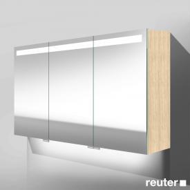 Burgbad Crono Spiegelschrank mit LED-Beleuchtung mit 3 Türen eiche fineline oregon, mit Waschtischbeleuchtung