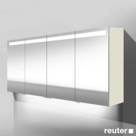 Burgbad Crono Spiegelschrank mit LED-Beleuchtung mit 4 Türen weiß matt, mit Waschtischbeleuchtung