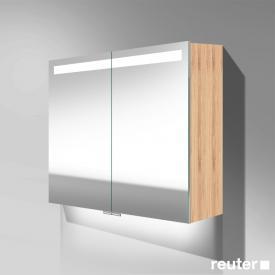 Burgbad Crono Spiegelschrank mit LED-Beleuchtung mit 2 Türen bambus natur, mit Waschtischbeleuchtung