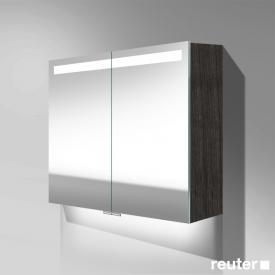 Burgbad Crono Spiegelschrank mit LED-Beleuchtung mit 2 Türen eiche schwarz, mit Waschtischbeleuchtung