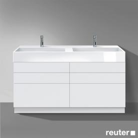 Burgbad Crono stehender Waschtischunterschrank, 6 Auszüge Front weiß matt/Korpus weiß matt