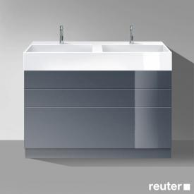 Burgbad Crono stehender Waschtischunterschrank für 2 Aufsatzwaschtische mit 3 Auszügen Front anthrazit hochglanz / Korpus anthrazit hochglanz