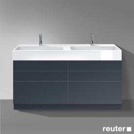 Burgbad Crono stehender Waschtischunterschrank für 2 Aufsatzwaschtische mit 6 Auszügen Front anthrazit matt / Korpus anthrazit matt
