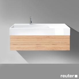 Burgbad Crono Waschtisch mit Waschtischunterschrank mit 1 Auszug Front bambus / Korpus bambus / Waschtisch weiß