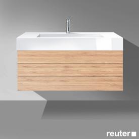 Burgbad Crono Waschtisch mit Waschtischunterschrank mit 2 Auszügen Front bambus / Korpus bambus/WT weiß