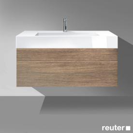 Burgbad Crono Waschtisch mit Waschtischunterschrank mit 2 Auszügen Front nussbaum natur / Korpus nussbaum natur/Waschtisch weiß