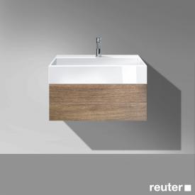 Burgbad Crono Waschtisch mit Waschtischunterschrank mit 1 Auszug Front nussbaum natur / Korpus nussbaum natur/WT weiß