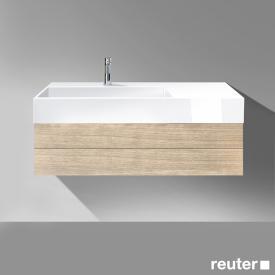 Burgbad Crono Waschtisch mit Waschtischunterschrank mit 1 Auszug Front eiche natur / Korpus eiche natur / WT weiß