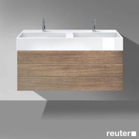 Burgbad Crono Waschtischunterschrank, 2 Auszüge, Waschtisch weiß Front nussbaum natur / Korpus nussbaum natur/WT weiß